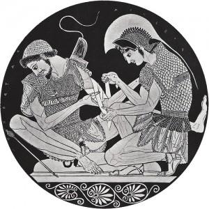 Achilles & Patroclus depicted on an ancient kylix