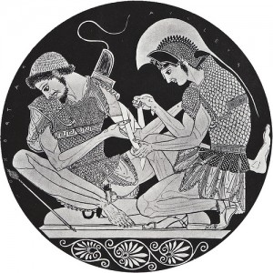 Achilles & Patroclus depicted on an ancient kylix