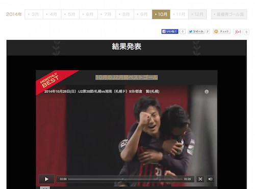 J2リーグ戦第38節の都倉賢選手のゴールが「J2最優秀ゴール賞」10月の月間ベストゴールに